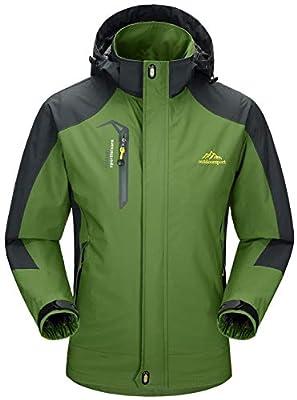 Rdruko Men's Jacket with Hood Waterproof Windproof Casual Outdoor Softshell Raincoat Sportswear(Army Green,US L)
