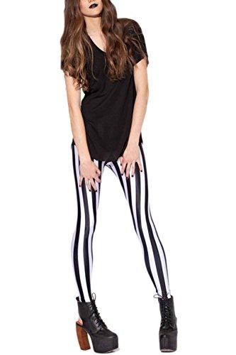Vemubapis Las Mujeres De Largo Por Completo Otoño Causal Rayas Imprimir Corriendo Forrado Pantalones Legging Black One Size