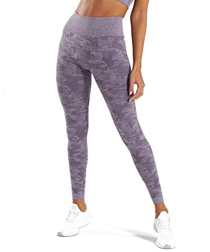 Yaavii Damen Sport Leggings Lange Blickdicht Yogahose Sporthose Streetwear Sporttight mit Hohe Taille Bauchkontrolle Lila M