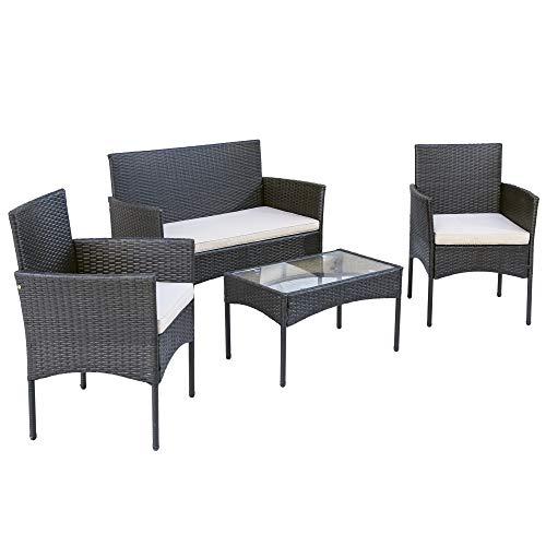 Merax Polyrattan Rattan Gartenmöbel Set Balkonmöbel Sitzgruppe Garten Lounge Set Outdoor Essgruppe Gartenlounge - Mit 2-er Sofa, Singlestühle, Tisch und Weiß Sitzkissen - 4