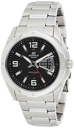 Casio EDIFICE Reloj en caja sólida, 10 BAR, Negro, para Hombre, con Correa de Acero inoxidable, EF-129D-1AVEF