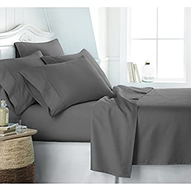 Reliable Bedding Luxurious Ultra Soft Silky Satin 7-Piece Bed Sheet Set with Duvet Set Queen, Grey