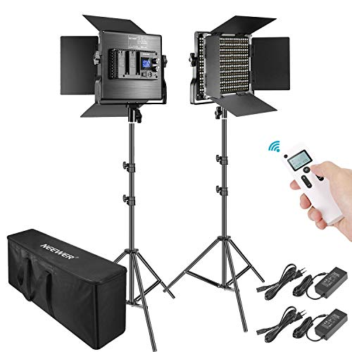 Neewer 2 Packs Avanzado 2,4G 660 LED Video Luz Fotografía Kit Iluminación con Bolsa Panel LED Bicolor Regulable con Control Remoto Inalámbrico 2,4G Pantalla LCD y Soporte de Luz