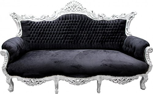 Barock Sofa Master Schwarz/Silber - Möbel Couch Lounge