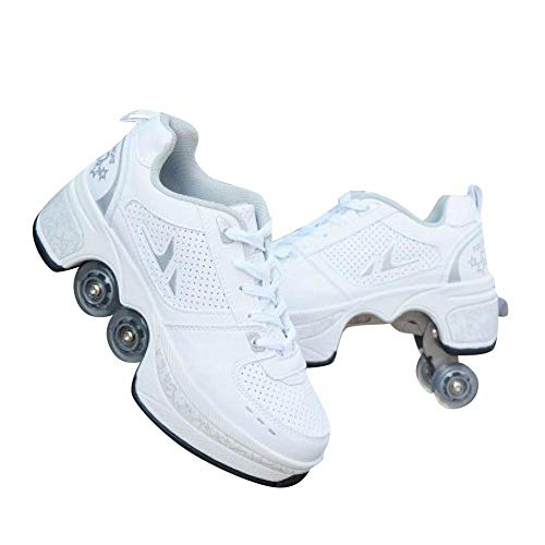 YYW Deformation Roller Skate Shoes Double-Row Roller Shoes For Women Men Adult Sneakers Running Shoes with Deform Wheels (Silver,EU 41 = UK 8)