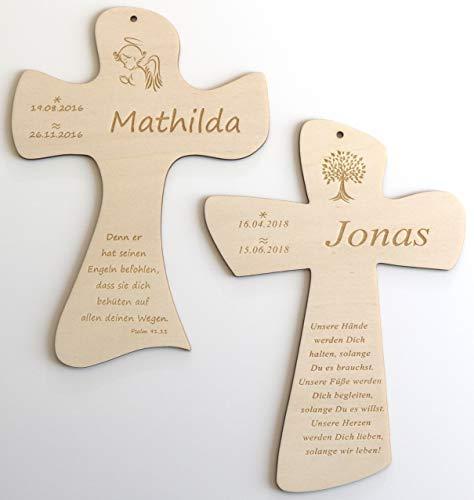 Taufkreuz mit Taufspruch personalisiert,Namen,Datum,Kinderkreuz aus Holz, individuelles Geschenk zur Geburt und Taufe für Jungen, Mädchen, Patenkind, Gravur Baum, Schutzengel, Fisch, Taube uvm.