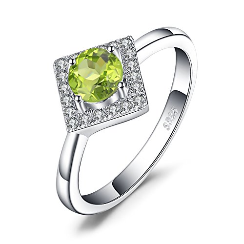 JewelryPalace 0.6ct Round-Cut echten Peridot Halo Ring 925 Sterling Silber