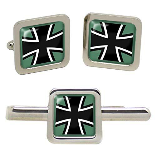 Giftshop UK Federal Defence Fuerzas de Alemania (Bundeswehr) Cuadrado Gemelos y Corbata Clip Set