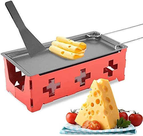 HERCHR Fundidor de raclette de Queso para Parrilla, Juego de raclette de luz de té Mini Raclette portátil con luz de Vela con Mango Plegable(Conjunto Rojo)