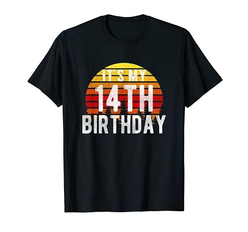Funny It's My 14th Birthday Camisa retro vintage regalos de puesta de sol Camiseta