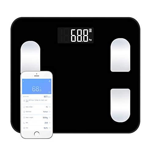 CFFDDE Digitale personenweegschaal, weegschaal met bluetooth, lichaamsvetweegschaal, intelligente app, ondersteunt 14 talen, 24 lichaamsgegevensmetingen, voor de analyse van de gezondheid van de gezondheid zwart