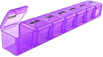 BUG HULL Extra Large Pill Organizer for Travel Weekly XL Pill Box 7 Day XXL Pill Case Oversize Daily Medicine Organizer for Vitamins Fish Oils Supplements  Purple