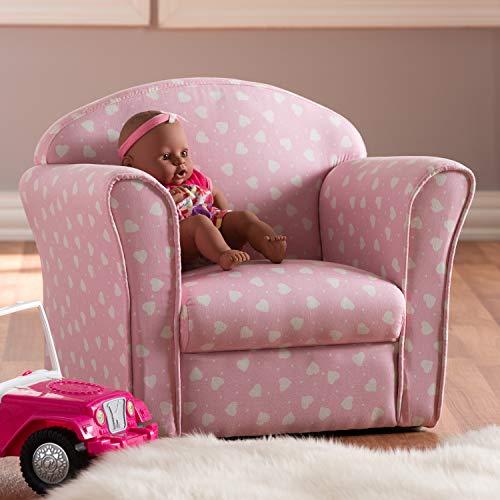 Baxton Studio Erica - Sillón Infantil tapizado, Color Rosa y Blanco