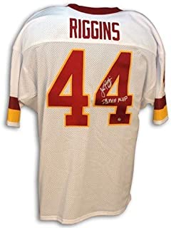 Autographed John Riggins Redskins Throwback White Jersey Inscribed SB XVII MVP - COA Included Signature