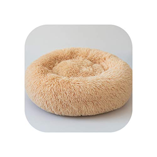 Big Incisors Donut Round Long Plush Dog Bed Ultra Soft Washable Best Pet Bed for Small Medium Large Cat Dog Kennel Cushion Bed Puppy Mat,Light Yellow,40Cm