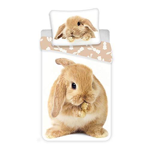 Brown Bunny Rabbit Duvet Cover 100% Cotton