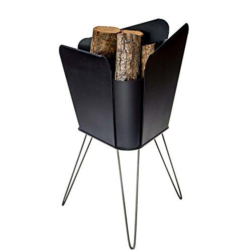 VASNER Merive M2 Feuerkorb Stahl schwarz, Edelstahl Beine, 48 x 50 x 78 cm, modern eckig, Feuerstelle, Feuerschale für Terrasse & Garten Deko