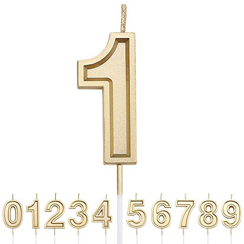 URAQT Number Candles 1, Birthday Cake Candles, Gold Glitter Birthday Number Candle, Suitable For Kids And Adults, Can Decorate Birthday Parties, Wedding Anniversary Parties, Graduation Party, Etc