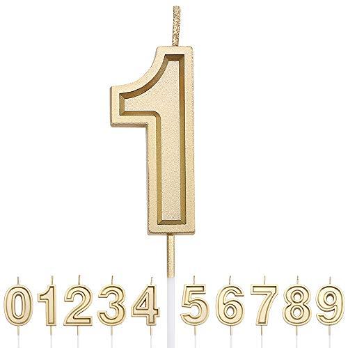 URAQT Velas Cumpleaños Número 1, Velas de Pastel de Cumpleaños, Velas Doradas para Cumpleaños/Aniversario de Bodas/Fiesta de Graduación, Número 0-9 para Elegir