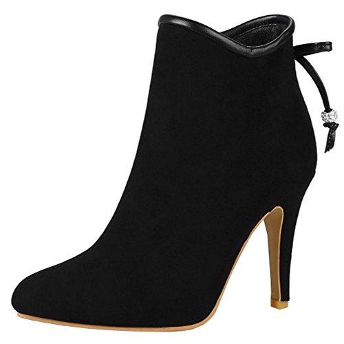 Zanpa Sweet Damen Stiefeletten Zipper Herbstschuhe Heels Black Size 35