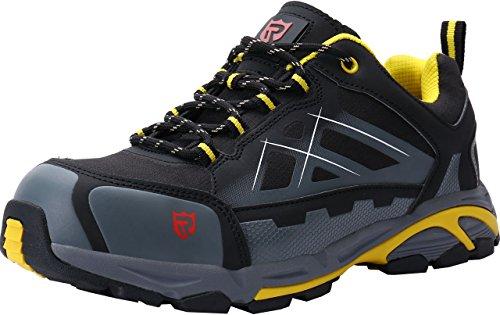 Zapatillas de Seguridad Hombre, LM-18 Zapatos de Seguridad Antideslizantes con Punta de Acero Antipinchazos Calzados de Trabajo(43 EU,Negro/Amarillo)