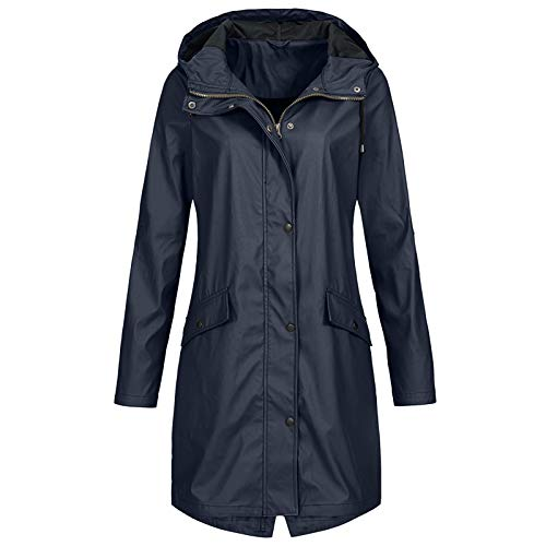 Aniywn Rain Jacket Women Lightweight Raincoat Waterproof Windbreaker Zipper Button Climbing Outdoor Hooded Trench Coats Navy