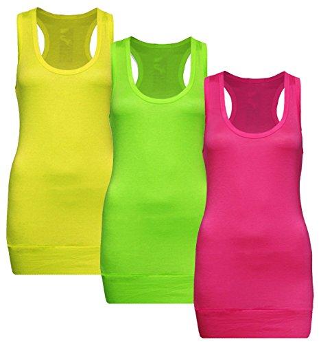 Muse 3x Damen Tanktop Racerback - Beach Top - Tank Tops - 3er Pack Ringertop - Ringerrücken - Longtop - Trägertop - TShirt - 3er Pack - Neon Yellow + Neon Green + Neon Pink - Gr. 36-38 (S-M)