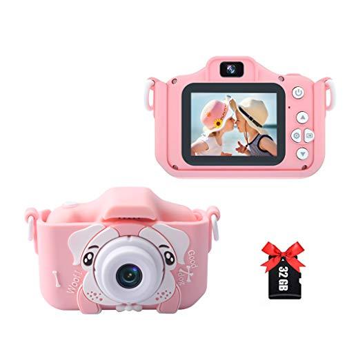 Amycute Kinderkamera, Fotoapparat Kinder Selfie und Videokamera mit 32 Megapixel/Dual Lens/2 Inch Bildschirm/2.5k UHD/32G TF/2,4 Tausend Fotos/WiFi+APP für 4-10 Jahre Jungen Mädchen-Rosa