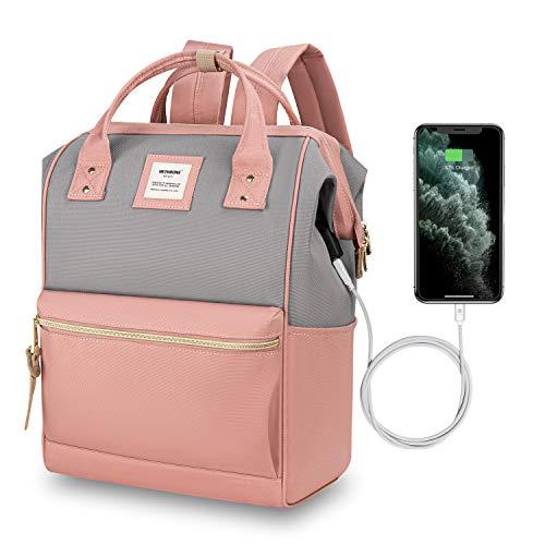 Hethrone Sac à Dos Femme 15.6 Sac à Dos Pc Antivol Imperméable Backpack pour Scolaire Voyage Travail Décontracté Rose Gris USB