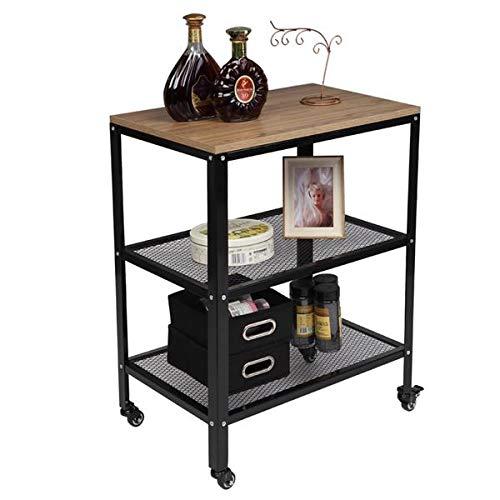 Carrito de cocina para microondas, carrito de 3 niveles, con marco de metal, color gris