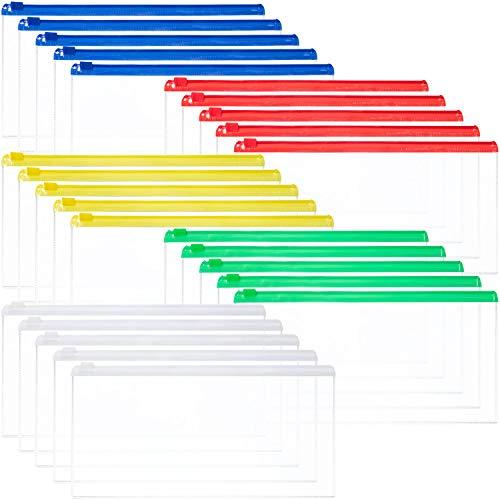 Leinuosen 50 Pieces Zip Plastic Envelopes File Waterproof Wallet Bag Bill Bag Pencil Case Letter Size (5 Colors)