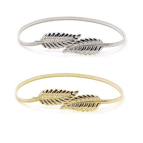 knowing Mujer Cintura Cinturón,Hojas Metal Elástico Cintura Cintura Strap, Hojas de Metal Cadena de Cintura,2PCS (Oro + plata)