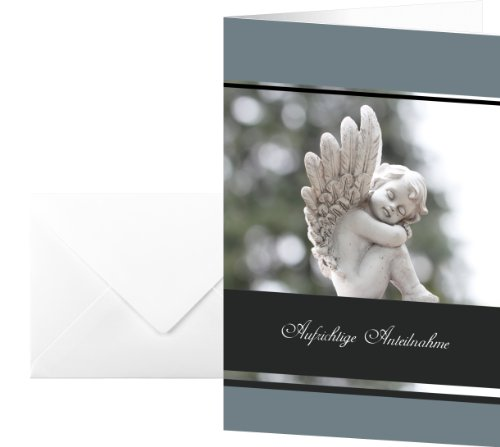 Sigel DS007 Tatmotive 'Im Gedenken'17 x 11,5 cm avec enveloppes Blanc-Lot de 10 en allemand