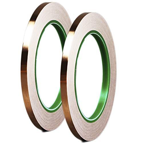 Dooppa Kupferfolienband mit leitfähigem Klebstoff, 5 mm x 50 m, für Kunstarbeiten, Buntglas, elektrische Reparaturen, Löten, EMI-Abschirmung, Erdung (2 Stück)