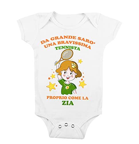 t-shirteria Body Neonata Zia - Da Grande Sarò una Bravissima Tennista Proprio come la Zia - Body Neonato Sport - Body Neonato Tennis - Body Neonata Zia Divertenti