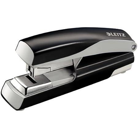 Leitz 55230095 Flach-Heftger/ät Ergonomisches Metallgeh/äuse, Inkl. Heftklammern, NeXXt, Blisterverpackung, 40 Blatt schwarz