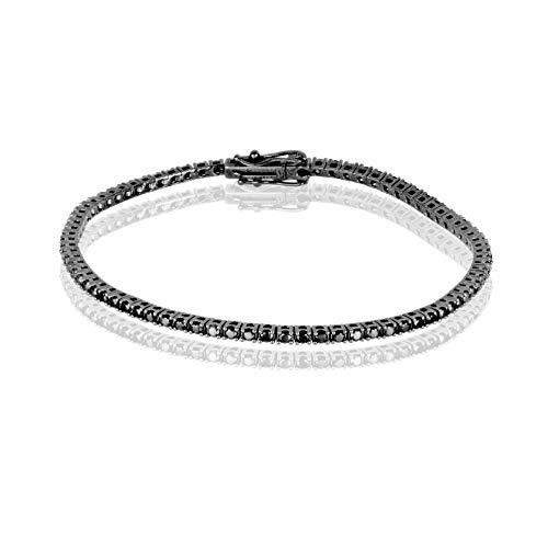 La Gioielleria- Bracciale Tennis in Oro 750 con Diamanti da 2 Carati, 19 cm   Bracciale da Uomo con Diamanti di Colore Nero   Certificato di Garanzia e Autenticità