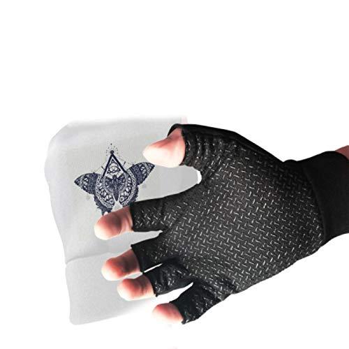 Butterfly Tattoo Art Celtic Style Mystical Lightweight Fingerless Gloves Anti Slip Shock Fingerless Fishing Gloves Absorbing Padded Breathable Fitness Gloves Split Finger Yoga Gloves for Women&Men