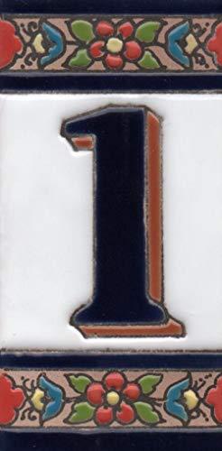 Números de casa de cerámica con números y letras rojo, azul y verde, tamaño del azulejo: 11 cm x 5,5 cm (número 1)