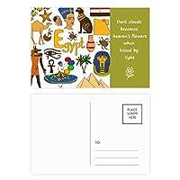 エジプトの風景の動物の国旗 詩のポストカードセットサンクスカード郵送側20個