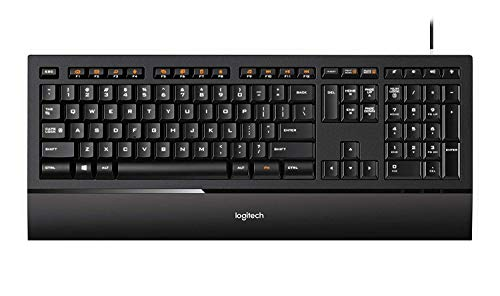 Logitech Illuminated Ultrathin Wired Keyboard K740 with Laser-Etched Backlit Keyboard and Soft-Touch Palm RestFull-Size Layout Black