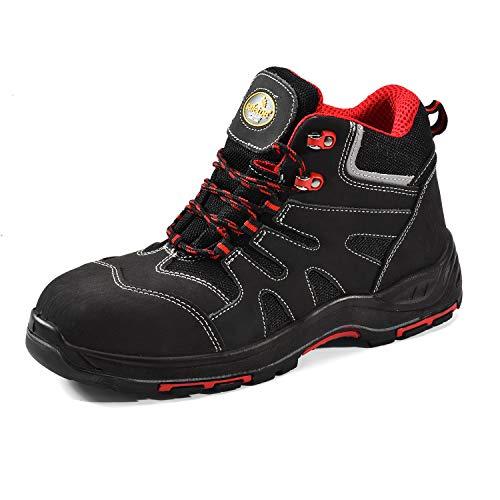 Botas de Seguridad Hombre Trabajo con Suela Antideslizante CE S3 8350 Calzado de Protección con Puntera Composite (41 EU, Gris)