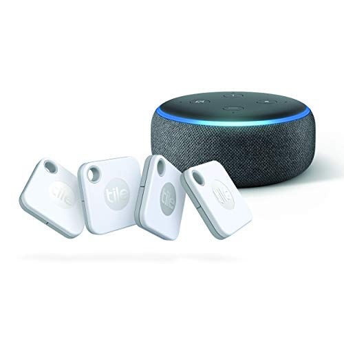 Tile Mate (2020) - 4-Pack with Echo Dot (3rd Gen) with Amazon Smart Speaker with Alexa