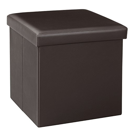 Bonlife Ottoman Footstool Bench with Storage Folding Faux Leather Storage Box with Lids,Storage Cube 38cm Foot Stools Rest Stool, Brown 38x38x38cm