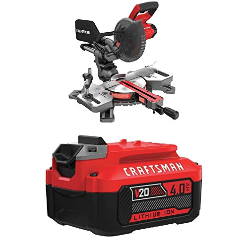 CRAFTSMAN V20 7-1/4-Inch Sliding Miter Saw Kit with EXTRA Lithium Ion Battery, 4.0-Amp Hour (CMCS714M1 & CMCB204)