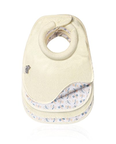 Tommee Tippee Closer to Nature 46353050 Pack of 4 x Cream Milk Dribble Catcher Feeding Bibs with Reversible Design