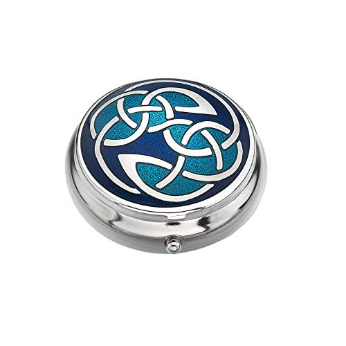 Sea Gems Pillbox Silver Plated Celtic Open Knot Blue Brand New and Boxed