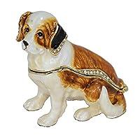 彫像の装飾品の彫刻置物動物の彫像の装飾品犬の宝石で飾られた小物の宝石箱動物の彫像卓上合金装飾工芸品ピューターの装飾家の装飾