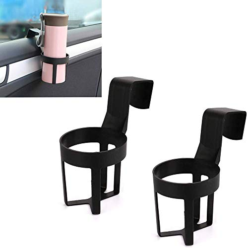 Car Cup Holder,2 Pcs Black Auto Seat Side Cup Holder,Universal Beverage Holder for Vehicle,Made of ABS Plastic,For Water Bottle, Coffee Cups,Thermos Cups,Beverage Cans,Compatible with Most Vehicles