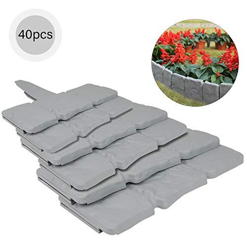 EXLECO 40 Pcs Palisade Zaun 10 M Beetumrandung Beeteinfassung Grau Rasenkantensteine Kunststoff für Rasen